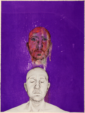 I and I serigraphic monotype and drawing Michael Hecht
